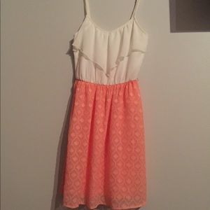 Pinky coral and white dress